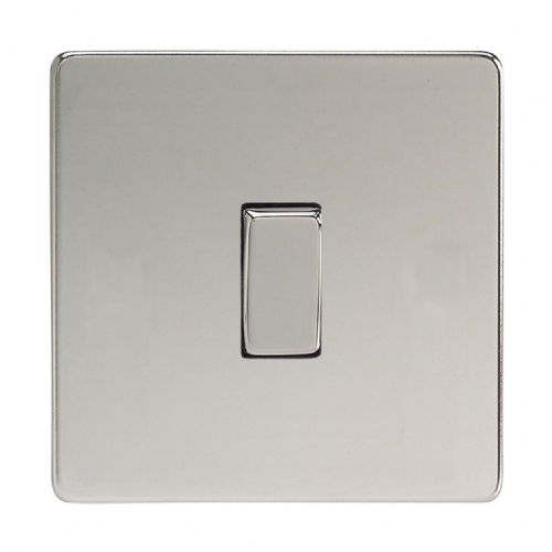 Varilight XDC1S Screwless Polished Chrome 1 Gang 10A 1 or 2 Way Rocker Light Switch